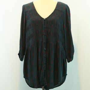 Torrid Printed Button Up Gauze Shirt